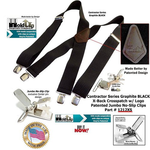 "Contractor Series Holdup 2"" wide black X-back work suspenders with patented jumbo No-Slip Silver tone clips"
