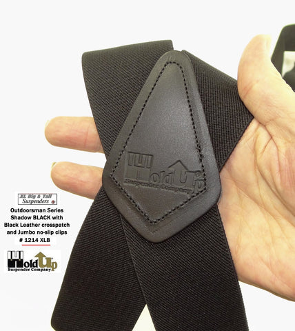 Shadow Black Holdup XL work suspenders with top grade black Leather Crosspatch embossed with Holdup logo
