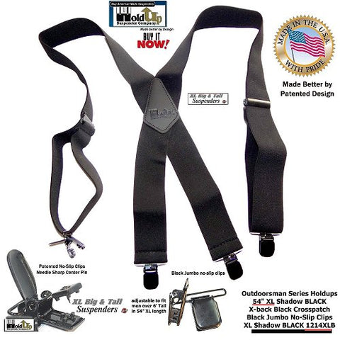 Big and Tall XL all black Holdup wide work suspenders with black leather logo embossed crosspatch