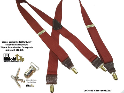 Casual Series USA made Holdup X-back suspenders with patented Silver tone no-slip clips