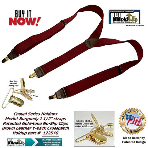 Casual Series Holdup Y-back suspenders in dark Merlot Burgundy color with Gold-tone patented no slip clips
