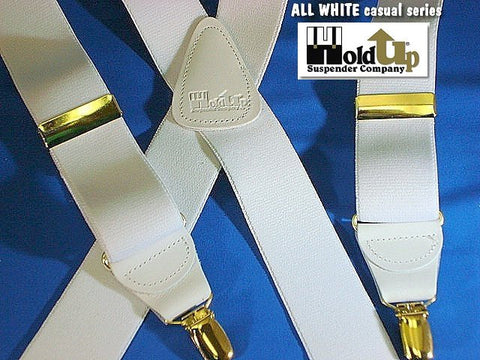 Casual Series Holdup ALL White suspenders in X-back style with patented gold tone no-slip clips.
