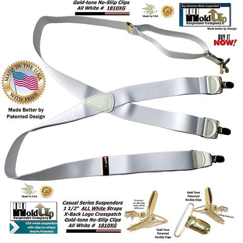 Casual Series Holdup X-back all white suspenders made in the USA with gold no-slip clips.