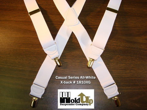 USA made wall white X-back Holdup suspenders in our casual series with patented gold tone no-slip clips