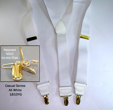 Casual Series All White Y-back Holdup suspenders with Gold tone no-slip clips
