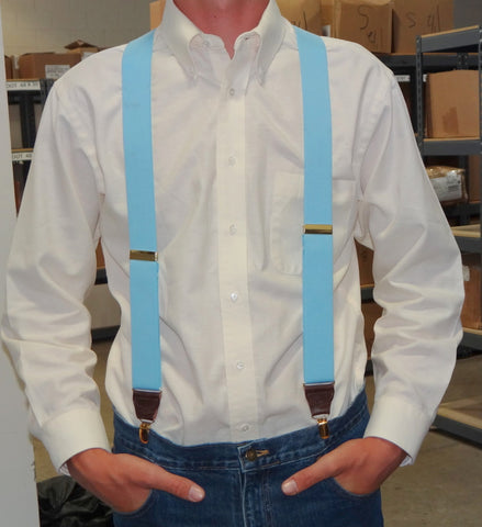 Casual Series Ski Blue X-back Holdup Suspenders with patented Golf tone no-slip clips