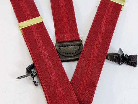 Beautiful Burgundy stripe jacquard weave USA made Holdup Suspenders in Double-Up style