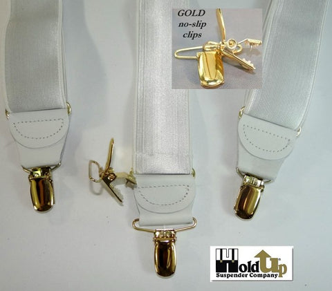 "White satin finished Holdup Corporate Series 1 1/2"" wide formal suspenders"