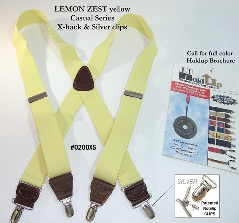 Pale lemon Zest Yellow Holdup clip-on suspenders with brown leather X-back crosspatch and silver no-slip clips