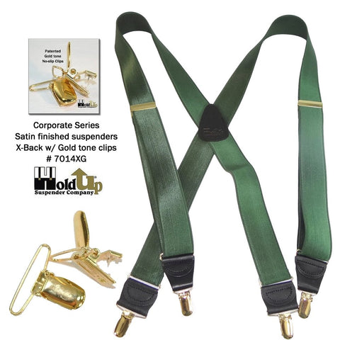 Corporate Series Forest Green satin finished X-back suspenders with Gold tone no-slip clips