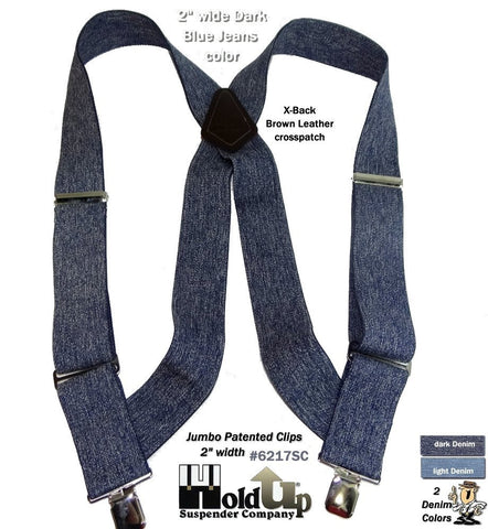 The Perfect Dark denim blue side clip suspender so popular with Truckers or those who want a quick release side clip suspender to holdup their work pants