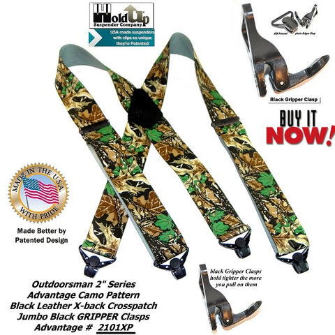 Advantage Camouflage Hndting suspnders with patented Gripper Clasps and Black leather X-back Crosspatch embossed with Holdup Logo.
