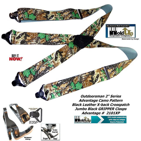 Holdup Suspender Com[pany Outdoorsman Series Advanatge Camo pattern work and hunting X-back suspenders with super strong Composite Plastic Gripper Clasps that hold tighter to harder you pull on them.