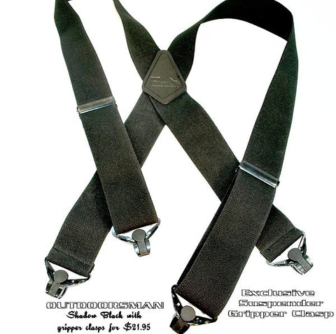 Heavy duty X-back Outdoorsman series Holdup suspenders with black gripper clasps