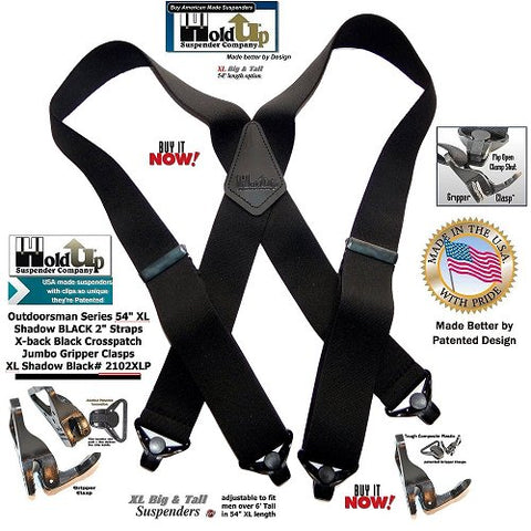 USA made XL Shadow Black Outdoorsman Series heavy duty work X-back suspenders for the big and tall man