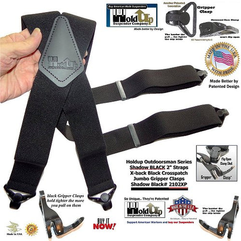 Shadow BLACK X-back wide work suspenders with patented black jumbo no-slip clasps and they're made in the USA