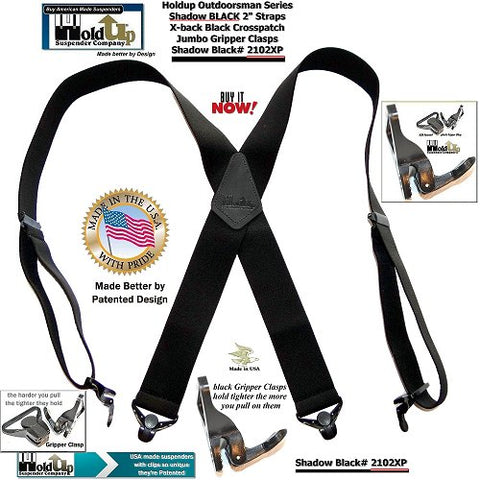 American made Outdoorsmen Series Shadow BLACK X-back wide work suspenders with patented black jumbo no-slip clasps