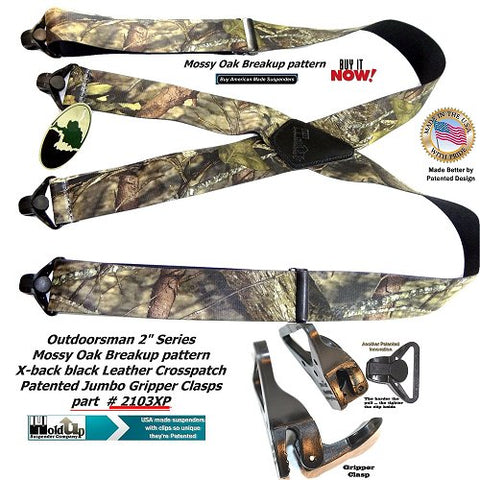 Holdup Brand Mossy Oak Breakup Trademarked Pattern X-Back Suspenders with Patented Jumbo Gripper Clasps