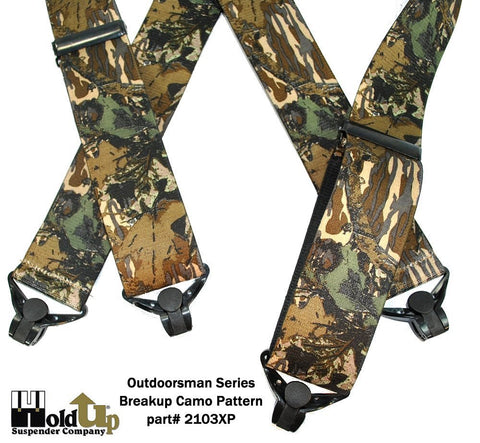 Breakup Pattern wide heavy duty Holdup suspenders with strong gripper clasps