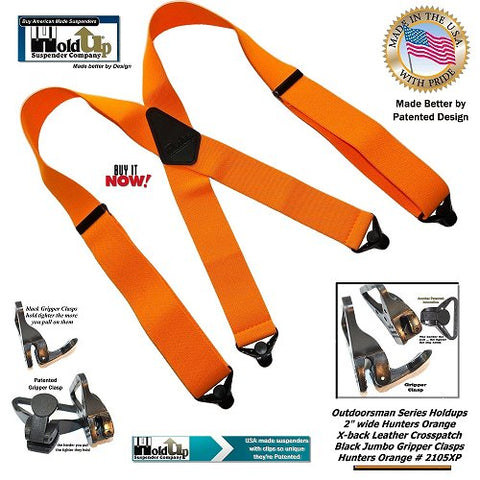 Outdoorsman Series Holdup X-back Hunters Orange X-back suspenders with jumbo black Gripper Clasps