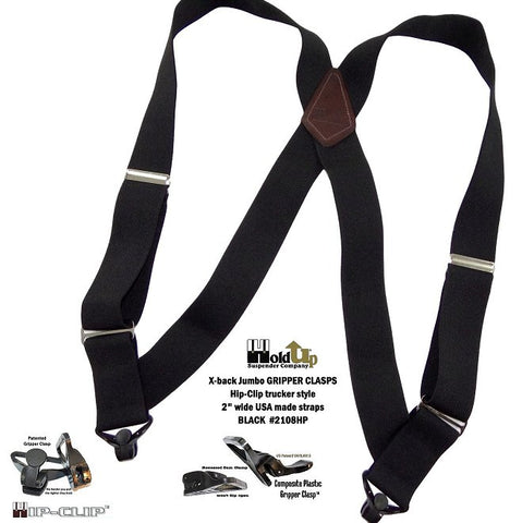 "2"" wide Holdup side clip black heavy duty trucker style suspenders with super strong black Gripper Clasps"
