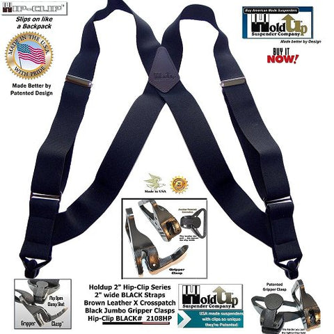 "American made 2"" wide Holdup side-clip black heavy duty trucker style suspenders with strong black Gripper Clasps"