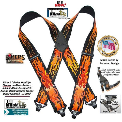 Holdup Brand Flame Pattern men's X-back Heavy duty Suspenders with Super Strong Gripper Clasps