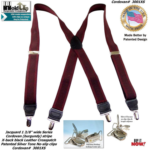 Jacquard Series men's suspender in a CORDOVAN burgundy color mix with Black X-back leather crosspatch embossed with Holdup logo