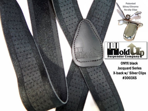 Black on Black Onyx jacquard Series Holdup suspenders in X-back with silver no-slip clips