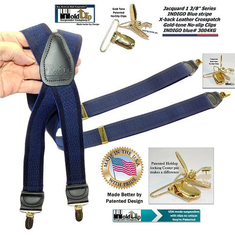"USA made 1 1/2"" wide tone-on-tone Jacquard Striped Series Y-back Suspender in tasteful blue on blue stripe pattern"