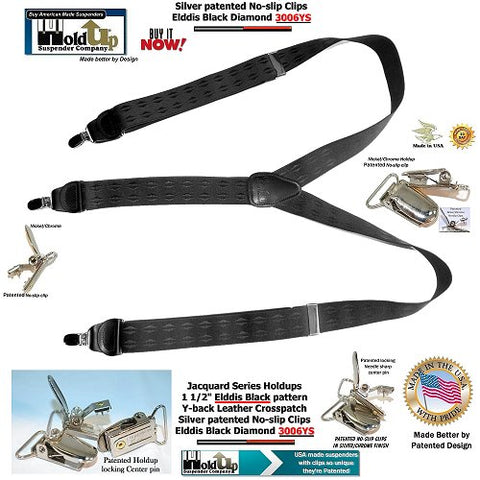 HoldUp Jacquard Series Elddis Black diamond pattern Y-back suspenders with patented No-slip Silver finished Clips