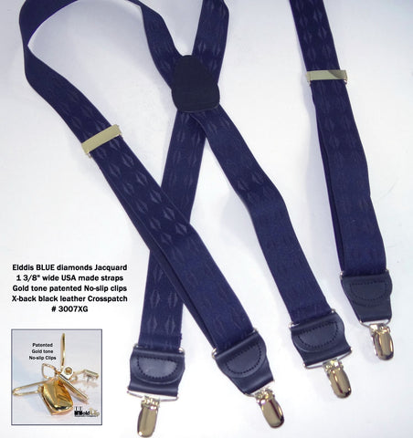 Jacquard Elddis mirrored pyramids in a blue on blue jacquard weave Holdup X-back suspender with gold no-slip clips