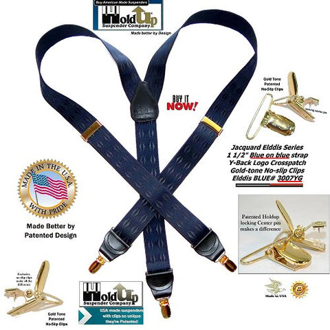 Elddis Dark Blue diamond pattern Jacquard weave Holdup Y-back suspenders with gold-tone no-slip clips