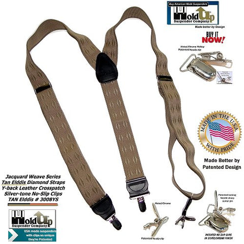 Holdup Elddis Tan Jacquard Series Y-back style suspenders with Patented No-slip Silver Clips