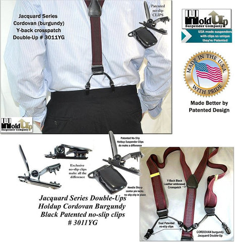 Cordovan burgundy jacquard series Holdup suspenders have dual black leather tapered clip tab holders and are made in the USA