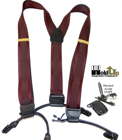 Burgundy and Cordovan stripe in a USA made jacquard weave Holdup suspender has the traditional look of button on suspender braces.