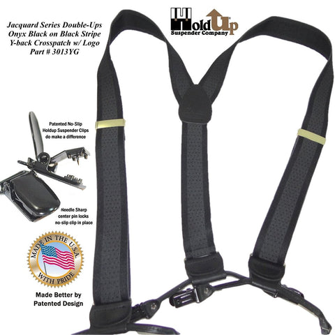 Jacquard Series Holdup brand men's black on black striped suspender with patented no-slip clips