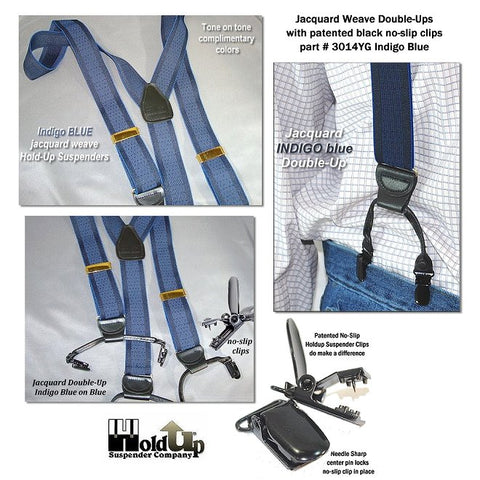 Indigo Blue on dark blue jacquard weave Holdup dual clip Double-Up style suspenders