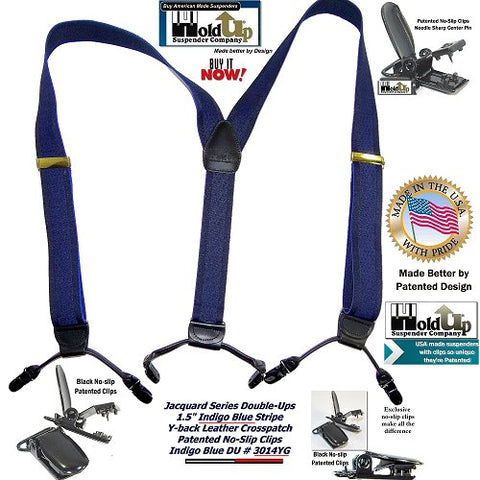 Indigo Blue Dual-clip Double-Up Holdup Suspenders with patented no-slip clips are made in the USA