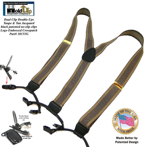 Tan and light brown jacquard weave Holdup dressy office Y-back style suspenders with black patented no-slip clips