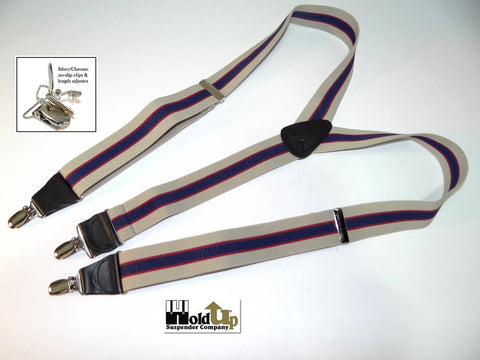 Khaki tan, navy blue stripe Holdup Suspender with thin red accent stripe in Y-back style