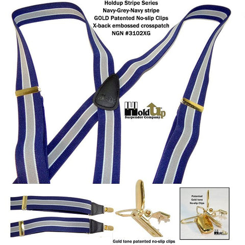 "Hold-Ups Navy & Gray Striped 1 1/2"" Wide Suspenders with X-back Style and Gold Tone No-slip Clips"