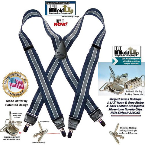 "American made 1 1/2"" wide and 48"" long navy and gray and white stripe clip-on from Holdup Suspender Co are the classic striped suspenders for office and casual wear"