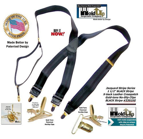 Jacquard Stripe Series Holdup X-back suspenders with black on black stripe and patented Gold-tone No-slip Clips