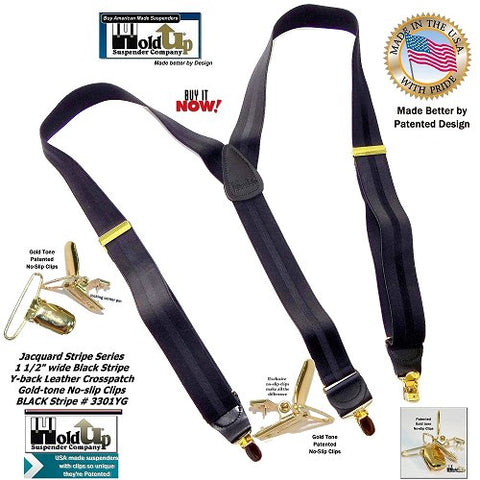 Jacquard weave Series black on black striped Holdup Y-back suspenders with patented gold-tone no-slip clips