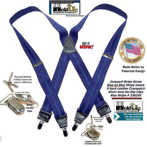 Holdup Jacquard Stripe Series USA made X-back suspenders in a blue on blue stripe weave pattern