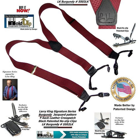 Burgundy Larry King Series Dual-clip Men's Holdup Suspenders with Y-back Crosspatch and no-slip clips
