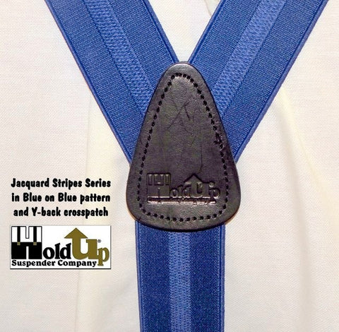 Holdup Blue on blue jacquard stripe woven clip-on Y-back suspenders with patented silver clips