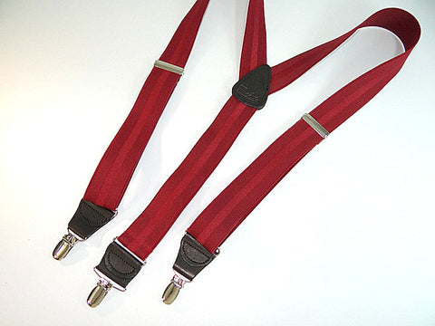 Jacquard Stripe Series Y-back Holdup suspenders in burgundy colors with faint center line stripe