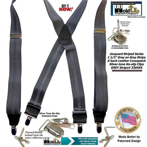 American made Striped Jacquard weave tone-on-tone HoldUp clip-on striped Gray on Grey suspender are now on sale at HoldupSuspenders.com